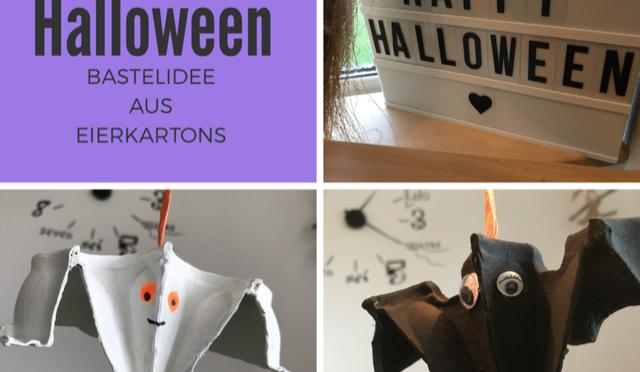Kinderleichte Bastelidee für Halloween: Leuchtende Fledermäuse und Gespenster aus Eierkartons