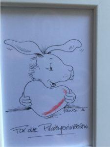 Hermien nahm uns mit zu den Anfängen der Moritz Moppelpo-Reihe, wie der kleine Hase in ihr Leben trat. Ein paar lustige Anektdoten aus ihrem Illustratorenleben erheiterten die Blogger-Runde.