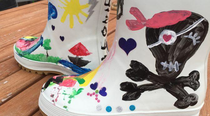 Bemalbare Gummistiefel – Paintable Boots für den Kindergarten