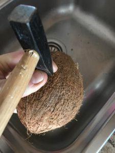Vogelfutterhaus Kokosnuss mit Hammer öffenen